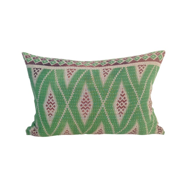 Vintage Green Block Printed Kantha Quilt Pillow For Sale