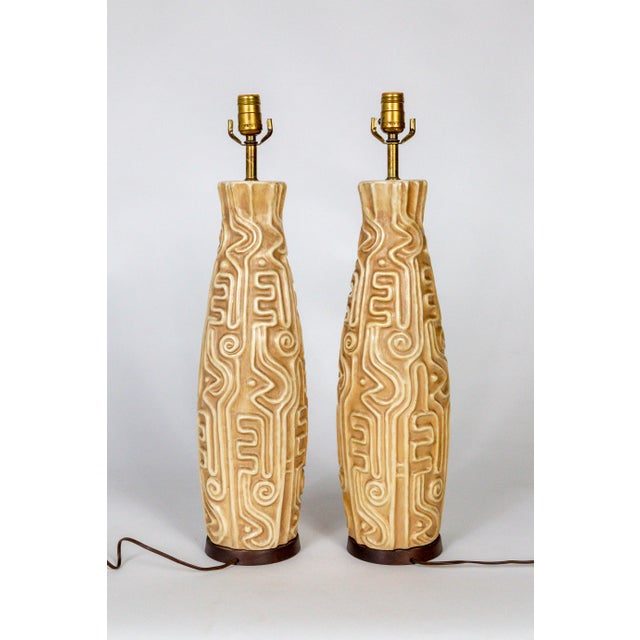 Tall Mid-Century High Relief Carved Tan Pottery Lamps - a Pair For Sale - Image 4 of 11