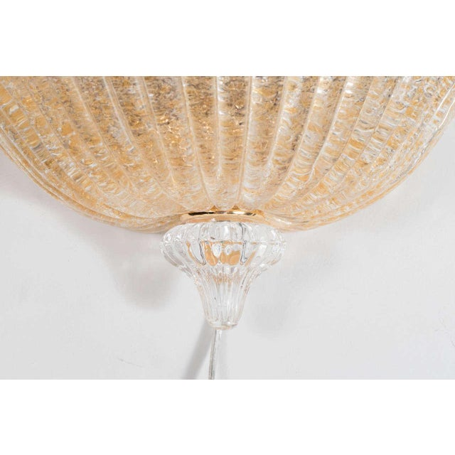 Mid-Century Modern Midcentury Hand-Blown Murano Glass Wall Sconce by Barovier e Toso For Sale - Image 3 of 8