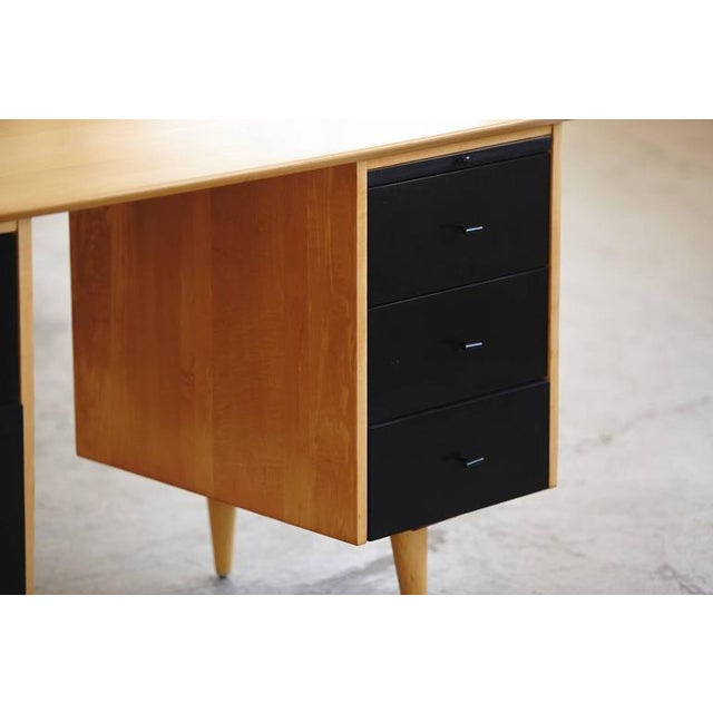 1950s 5 Drawer Double Sided Two Tone Black, Birch Desk by Paul McCobb for Planner Grou For Sale - Image 5 of 8