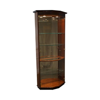 Henredon Modern Black & Mahogany Curio Display Cabinet For Sale