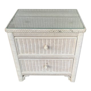 Lexington Wicker Nightstand With Glass Top For Sale