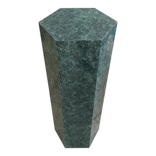 "1970s Modern Faux Malachite 36"" Tall Hexagonal Display Column/Plant Stand For Sale"