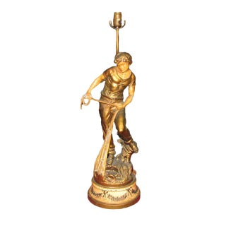 Vintage Newel Post Lamp of a Young Fisherman For Sale