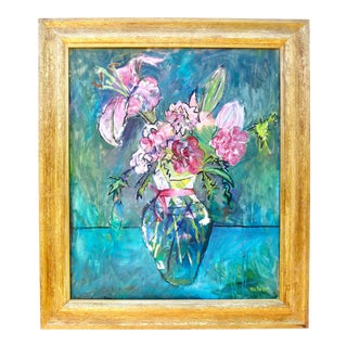"""""""Pink French Flowers"""" Contemporary Still Life Oil Painting by Martha Holden For Sale"""