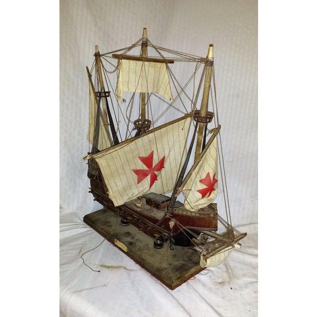 Antique Wooden European Ship Galleon For Sale In Sacramento - Image 6 of 11