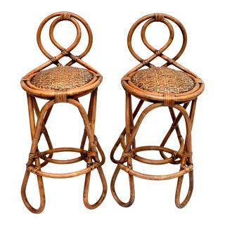 Vintage Bent Bamboo & Grasscloth Barstools For Sale