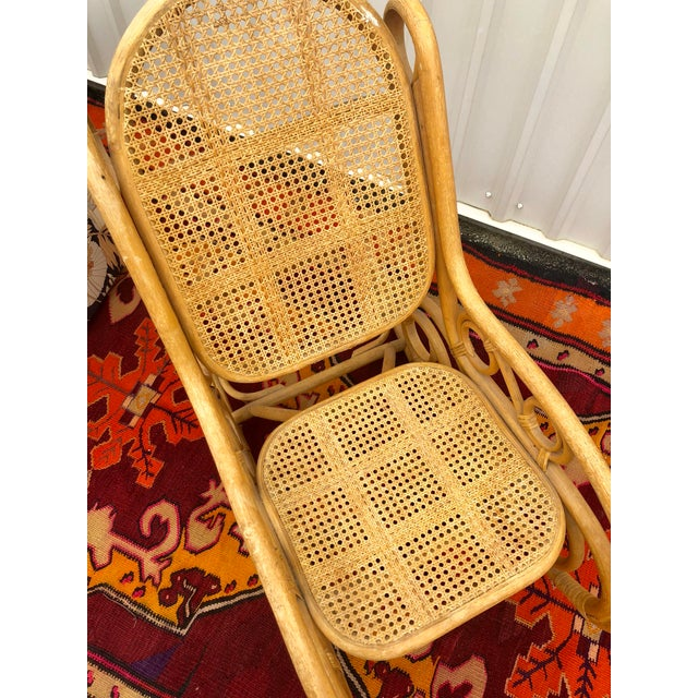 Mid 20th Century Vintage Mid Century Bamboo Rattan Spiral Rocking Chair For Sale - Image 5 of 7