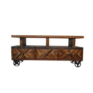 Distressed Reclaimed Wood TV Stand For Sale