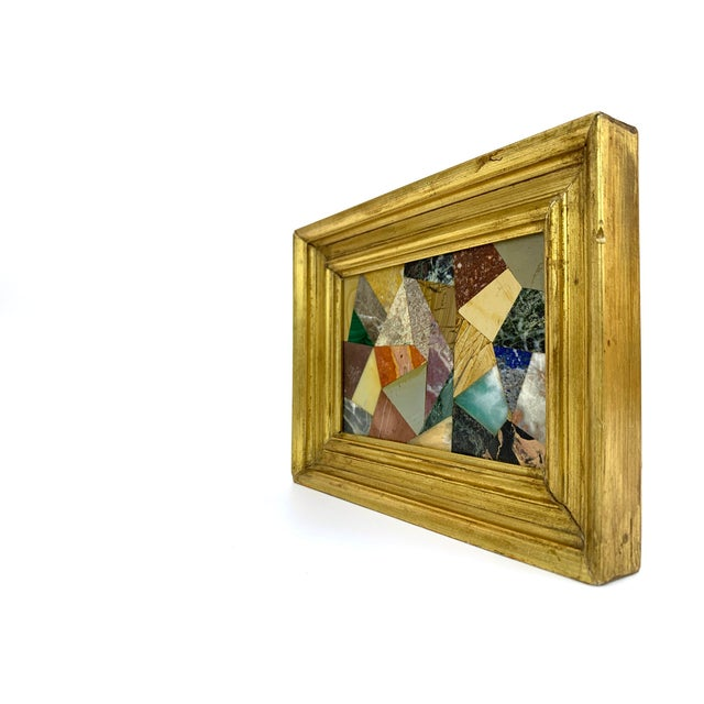 G. Ugolini Italian Pietra Dura Stone Framed Abstract Mosaic Artwork For Sale - Image 4 of 9