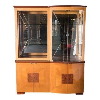 Alf Uno Italian Modern Walnut China Cabinet For Sale
