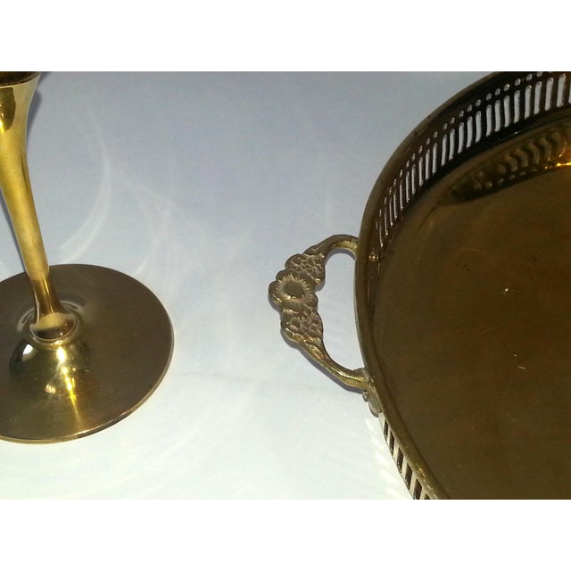 Brass Mid-Century Brass Goblets, Vase & Tray - Set of 4 For Sale - Image 7 of 11