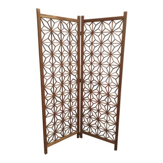 Mid-Century Teak Cut-Out Room Divider / Screen For Sale