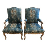 Image of Pair of 19th Century Glaze Painted Armchairs