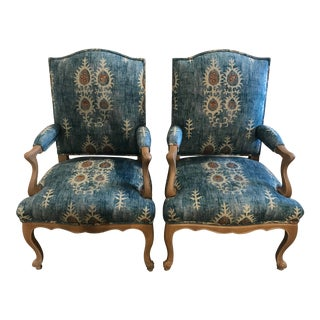 Pair of 19th Century Glaze Painted Armchairs For Sale