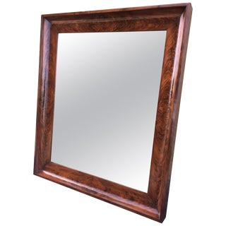 19th Antique Bevelled Frame Burl Mahogany Mirror For Sale