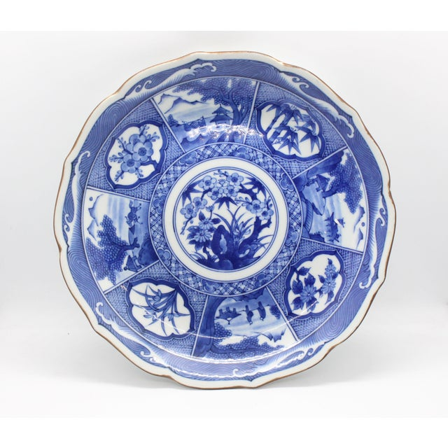 Blue Japanese Pictorial Blue & White Imari Painted Decorative Plate, Artist Signed For Sale - Image 8 of 8