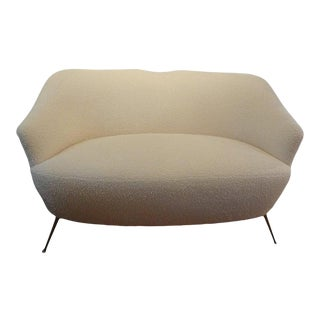 Italian Modern Curved Loveseat With Brass Legs, Gio Ponti Inspired For Sale
