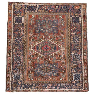 Antique Persian Heriz Rug, Study or Home Office Worn Rug For Sale