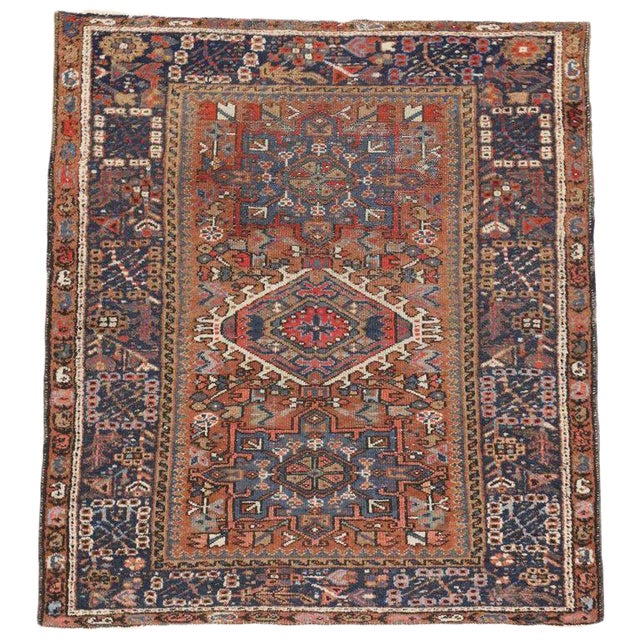 Antique Persian Karaja Heriz Rug With Mid-Century Modern Style, 3'6x4'6 For Sale