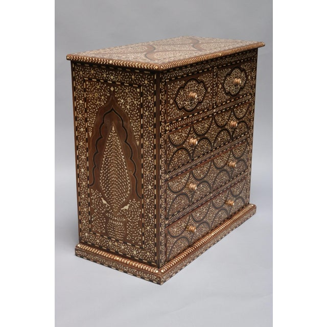 Anglo-Indian Teak Wood and Bone Inlay Chest of Drawers For Sale - Image 3 of 7