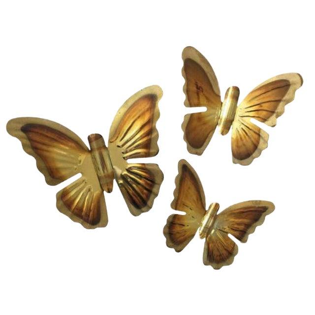 Vintage Brass Butterflies - Set of 3 - Image 1 of 3