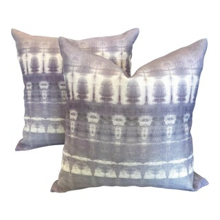 Lavender Ikat Printed Pillows - A Pair For Sale