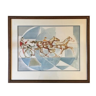 "1960s Vintage ""The Race"" French Cubist Lithograph by Jacques Ceria Despierre For Sale"