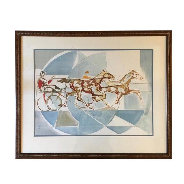 "1960s Vintage ""The Race"" French Cubist Lithograph by Jacques Ceria Despierre For Sale"