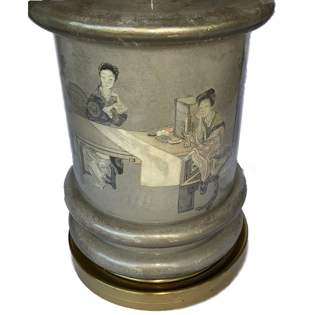 Chinese Motif Ceramic & Brass Table Lamp For Sale In Los Angeles - Image 6 of 7