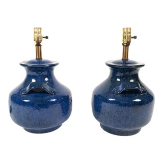 Italian Blue Pottery Lamps- A Pair For Sale