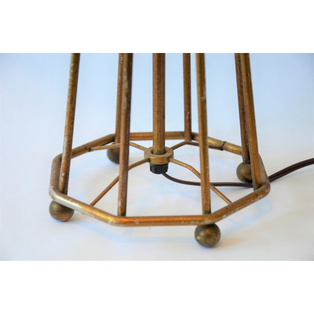 Atomic Modern Wire Frame Lamp and Shade For Sale - Image 9 of 12