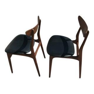 Mid-Century Danish Modern Style Black Vinyl Wood Chairs - Set of 2 For Sale