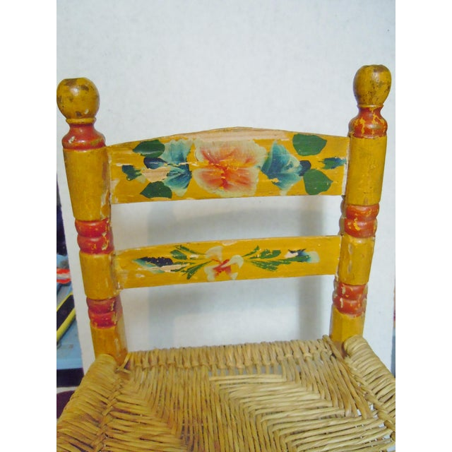"""Antique Child's Chair with Rush seat early1900's Measures approximately 18"""" tall, 13.25 wide, seat is 8"""" high, seating..."""