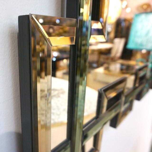 Glass Contemporary Italian Geometric Murano Glass Mirror With Aqua Green Ribbon For Sale - Image 7 of 13