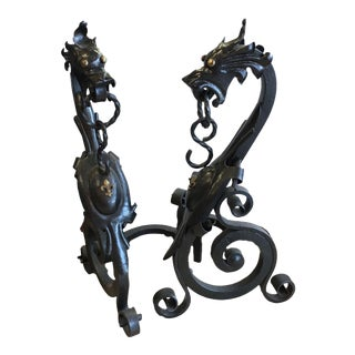 Gothic Revival Wrought Iron Dragon Andirons - A Pair