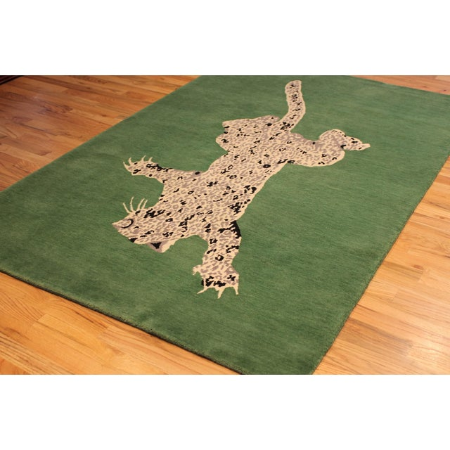 Green Gabeh Fine Leopard Hand Knotted Rug For Sale - Image 4 of 8