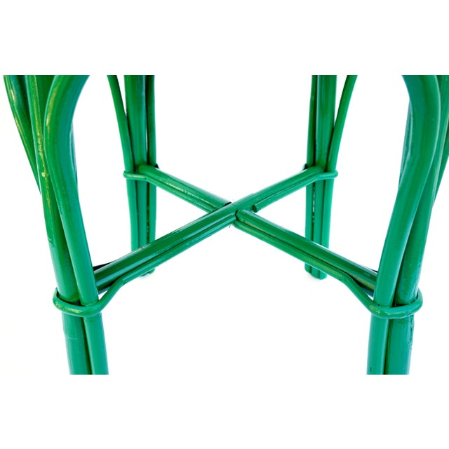 Vintage Emerald Green & Leopard Velvet Rattan Bamboo Accent Stool For Sale - Image 10 of 12