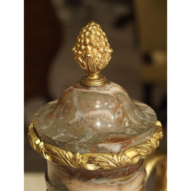 Pair of Circa 1860 Gilt Bronze and Marble Cassolettes from France For Sale - Image 4 of 11