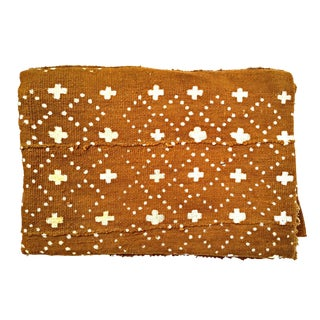 African Brown Rust Colored Mud Cloth Fabric Throw