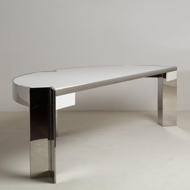 1970s A Pace Designed Chromium Steel and Ivory Lacquer Desk, 1970s For Sale - Image 5 of 10