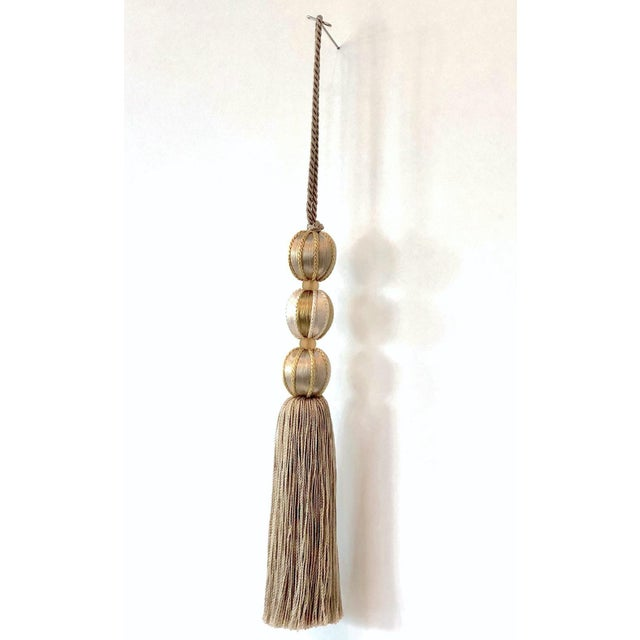 Wood Gold Beaded Key Tassel- H 7.5 Inches For Sale - Image 7 of 10