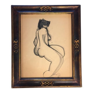 Vintage Original Charcoal Drawing of Female Nude For Sale