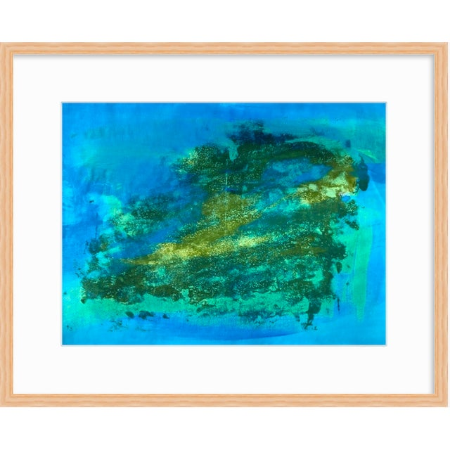 """Patricia Zippin Blue Green Part 5 1980s Gouache 20""""x 14.25"""", unframed ***Framed image is a mere representation Patricia..."""
