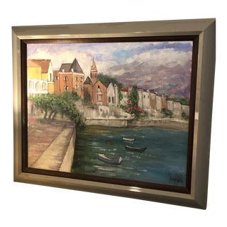 Vintage Mid-Century George Shelly Oil on Canvas Painting For Sale