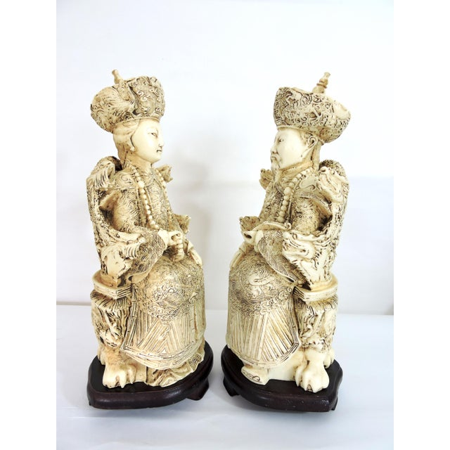 Vintage Chinese Faux Ivory Emperor and Empress Statues or Figures - a Pair, With Stands For Sale - Image 4 of 11