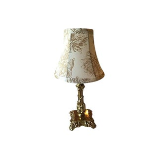 Gustavian Style Solid Brass Lamp With Floral Country Style Shade For Sale