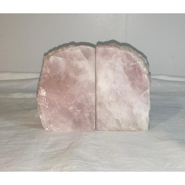 Natural Stone Rose Quartz Bookends - A Pair - Image 2 of 5