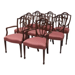 Kindel Mahogany Georgian Hepplewhite Shield Dining Chairs - Set of 8 For Sale