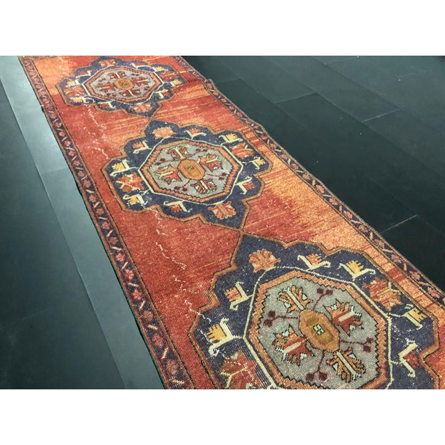 Boho Decorative Orange and Purple Turkish Handmade Vintage Runner Rug For Sale - Image 9 of 11